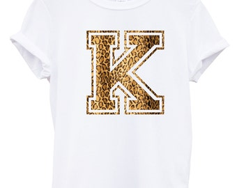 K Leopard Print Letter Fashion Tshirt Hipster Mens Womens Swag Brand New T Shirt