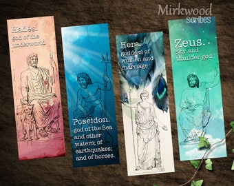 Greek Mythology Bookmarks, Printable Greek Gods and Goddesses Olympians Bookmarks,  Zeus Hera Poseidon Hades, Set of 4