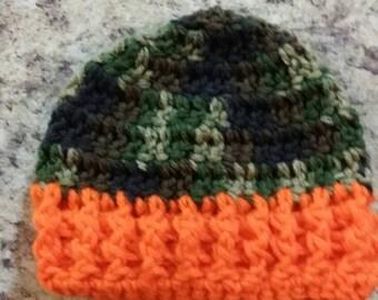 Camo crochet hat with orange