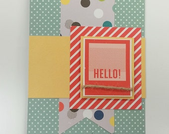 Hello All Occasion Handmade Card / Custom Message /  Thank you Card / Blank Note card / Creative Designs