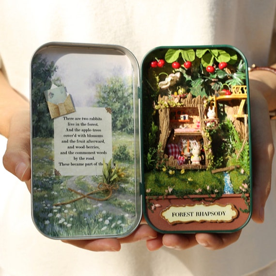 Diy do it yourself dollhouse miniatures craft kit rabbit easter diy do it yourself dollhouse miniatures craft kit rabbit easter bunny tree house tin story book forest version from dollhousebuildingkit on etsy solutioingenieria