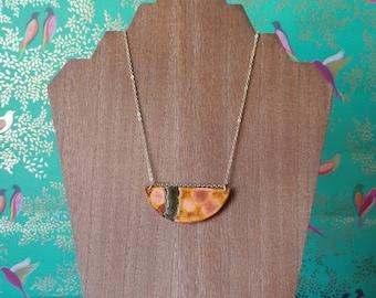 Painted Ceramic Necklace, Simple Pendant Necklace, Minimalist Style, Geometric jewelry