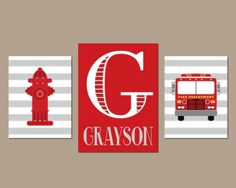 FIRE TRUCK Wall Art, Fire Truck Nursery Decor, CANVAS or Prints, Big Boy Bedroom, Fireman Artwork, Fire Truck Decor, Set of 3 Wall Decor