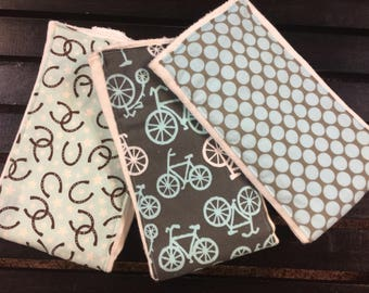 Baby boy burp cloths in Michael Miller blue and gray bicycles, lotus dots, and horseshoes