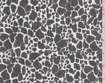 Soft Black/White Cheetah Stretch Twill, Fabric By The Yard