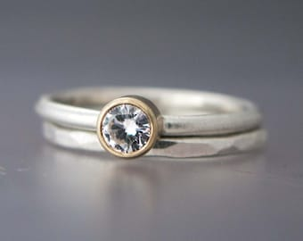 Alternative Wedding Set - Engagement Ring and Wedding Band in Gold and Sterling Silver, 4mm White Sapphire or Moissanite