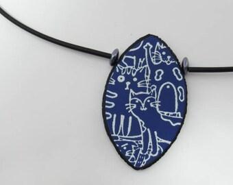 Necklace, Purple Polymer Clay  Cat Silkscreened Pendant