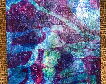 "Monoprint 6""x 6"" canvas, blue and purple patterned wall art. Mix and match, buy one get one FREE (SKU 1016)"