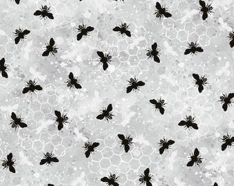 Half Yard Fabric-A Bees Life-Gray Grey Bees