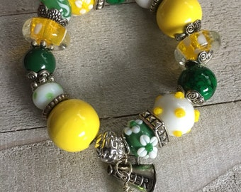 GREEN and YELLOW Chunky Bracelet, Spirit Gear, Fangirl Accessory, College Teams, NFL, Ducks, Oregon, Green Bay