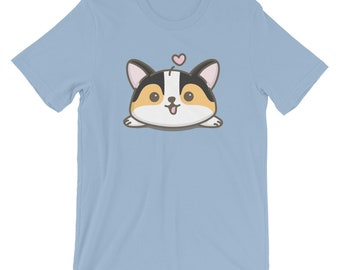 Tri-Color Corgi T Shirt (double sided - design on both front and back), Unisex