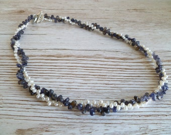 Ivory Fresh Water Pearl and Iolite  Two Strand Necklace UK Made