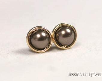 Gold Brown Pearl Earrings Chocolate Brown Pearl Stud Earrings Gold Stud Earrings Gold Pearl Earrings Gold Jewelry Swarovski Pearl Earrings