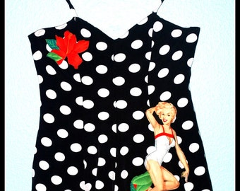 RockabillyPinup Girl Halter Top Playsuit Jumper..... Size S