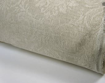 Dense natural flax - Unbleached heavy natural linen with flowers- Floral linen for furniture upholstery