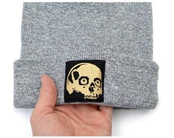 Hat Beanie Skull Beanie Hats Gift For Guys Slouch Beanies Skull Print Gift For Her Mens Beanie Winter Hat Beanie Skull Graphic Patch Beanie