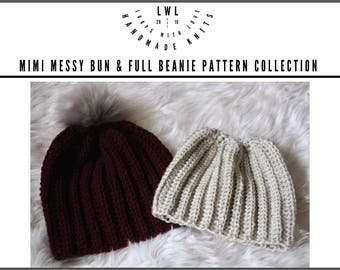 Mimi Messy Bun & Full Beanie Pattern Only Collection