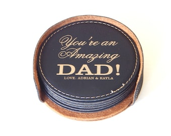 Gift for Dad Fathers Day-Dad Gifts - Coasters Personalized for Fathers Day from Daughter or Son - Leather Coaster Set, CAS018