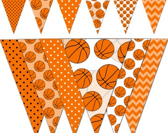 Basketball Banner, Baby Shower Printable Banner, Basketball Party Pennant Banner, Birthday Photography - Instant Download - DP439