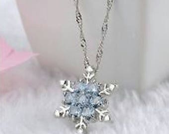 Frozen inspired necklace,vintage blue Snowflake Necklace   Snowflake Jewelry   Winter Wonderland   Winter Jewelry, fast shipping!