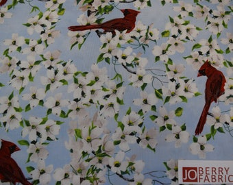 Cardinals and Dogwood from the Birds of a Feather Collection by Linda Picken for Blank Quilting.  Quilt or Craft Fabric.