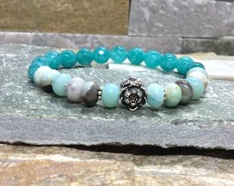 Yoga lotus bracelet mala bracelet Lotus amazonite Jade