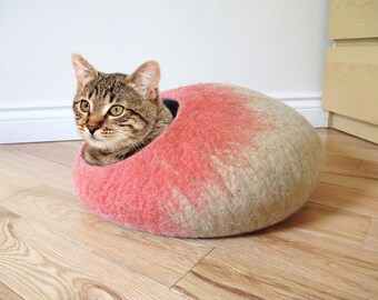Felted Wool cat cave in Coral and Tan colours, simple design, 100% natural eco friendly pet house, wool felted cat cocoon, cat bed house