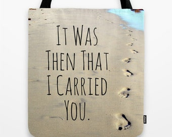 Footprints Tote Bag, Faith tote bag, Footprints poem, footprints in sand, beach tote, blue and tan, Religious gift, Christian Tote, Poem Bag