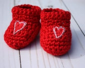 Red Baby Booties - Heart Baby Booties -  Red Newborn Booties - Red Crochet Booties - Valentine Baby Booties