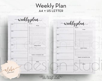 Weekly Planner, A4 printable, Daily Schedule, A4 Planner, To Do List, Daily Planner, Printable Planner, Daily Planner, Meal Planner