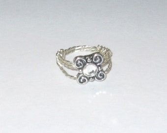 Decorative Silver Wire Wrapped Ring