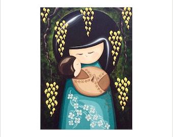 Mother and Baby Doll Canvas Painting, Japanese Kokeshi Doll Art, Oriental Doll, Kokeshi Wall Art, Kawaii Home Decor, Creative Kokeshi Art