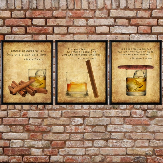 Cigar Art Cigar Prints Discounted Set of 3 Bar Art