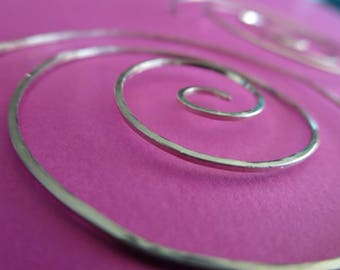 Medium Swirl Hoop Earrings. TWISTER. with hammered surface in 20 gauge square wire . German Nickel Silver . Free Shipping Item .