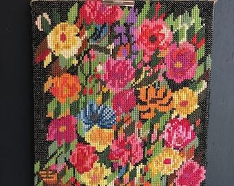 Vintage Floral  tapestry . 1970 Flowers bunch in a basket