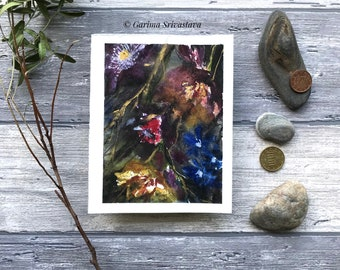 Original Abstract floral watercolor ink mixed media painting gold violet flower artwork wall art eye catching unique small dark aquarelle