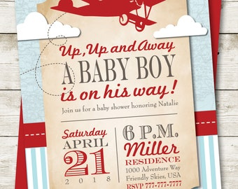 Airplane Baby Shower | Baby Shower Invitation, Vintage Airplane Invitation, Travel Themed Invitation, Up Up and Away Invitation, Printable