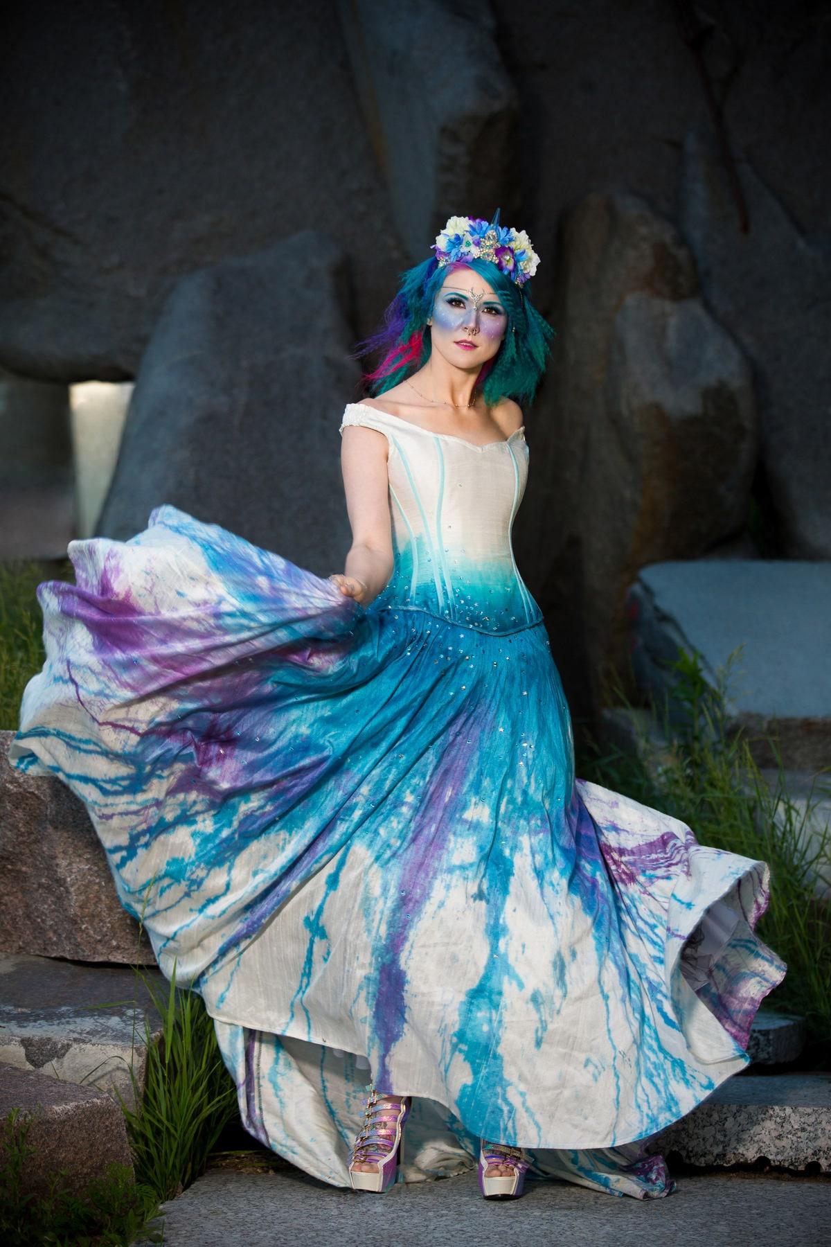 Galaxy Wedding Dress Off Shoulder Dress Starry Night Fairy