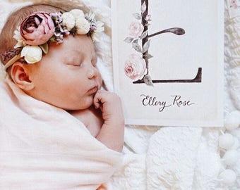 Custom Childs Initial & Name// art print - baby room decor - childs name - baby shower - keepsake - new mother - newborn - mama