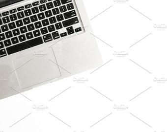 Styled Stock Photo   Laptop On White Table   Blog stock photo, stock image, stock photography, blog photography