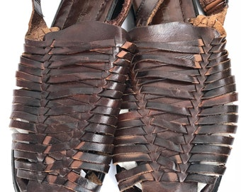 Vintage Huarache Women's Brown Leather sandals from Vermont County Store 9 M