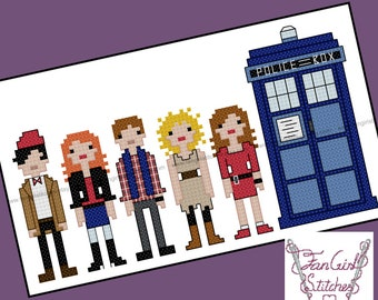 Eleventh Doctor and Companions Doctor Who themed Cross Stitch - PDF pattern - INSTANT DOWNLOAD