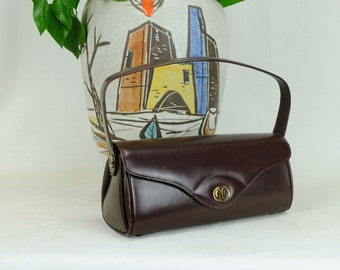 1940s 50s Handbag brown leather