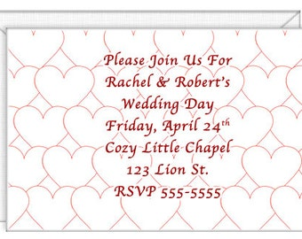 Red Hearts Invitations -- personalized -- with envelopes. Wedding invitations-party invitations. Standard Postage.  (50200)