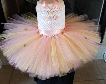 Pink Gold Tutu dress, Tutu outfit for birthday party, Easter and more special occasion.