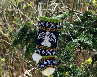 Angel Christmas stocking, Fair Isle Holiday Stocking, Knit Christmas stocking, Green Ornament, Fairisle Christmas, - SRGRB
