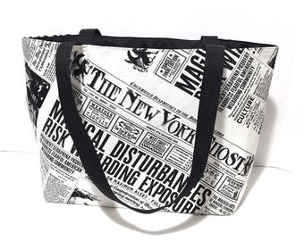 Fantastic Beasts and Where to find them, Tote Bag, Harry Potter, The New York Ghost Newspaper, Muggles, Gift for her, Magical Newspaper,