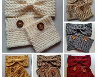 Crochet Bow Headband Ear Warmer and  Boots Cuff  Sets- CHOOSE Your Color