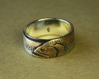 Mouth Bass PERSONALIZED Ouroboros mans ring. OAAK wedding band for fisherman. Artisan & rustic Fishing. Solid sterling silver, brass/copper.