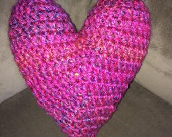 Crochet heart pillow, crochet heart throw pillow, home decor, valentine's day, love, crochet pink heart pillow